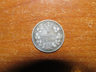 Canada 1889 silver 5 Cents coin Fine nice