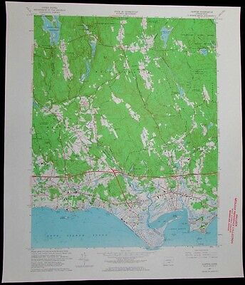 Clinton Connecticut Long Island Sound vintage 1964 old USGS Topo chart