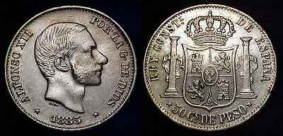 PHILIPPINES 1885 Silver 50 Centimos XF