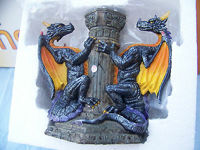 Double Dragon Candle holder (MYTHS & LEGENDS) Fantasy  hand painted by W. U. NEW