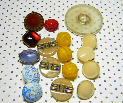 Collection Antique and Vintage Glass Buttons~Paris~Art Deco~Blue~Red~Yellow Ball