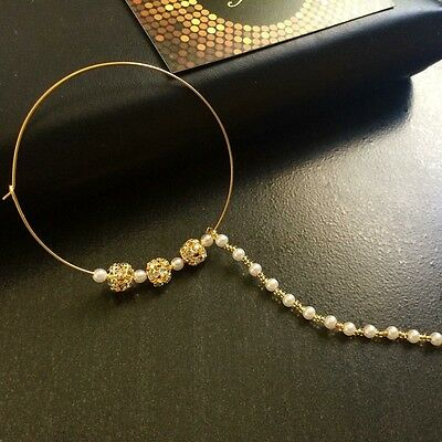 INDIAN  DESIGNER GOLD PLATED   NOSE RING BRIDAL JEWELRY Nath Pearls