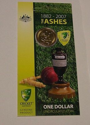 2007 $1 Ashes cricket coin in pack of issue.