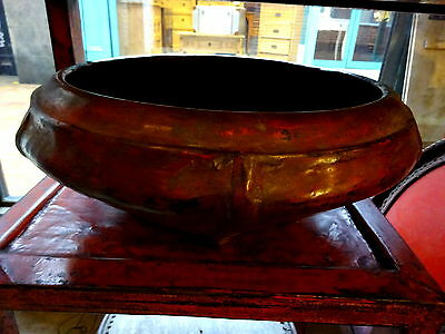 Antique 19th c Thai Burmese Large Red Lacquer Serving Bowl Kwet