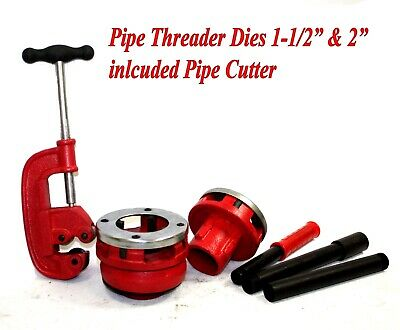 "1-1/2"" & 2"" Npt Pipe Dies Threader & Ratchet Type Handle W/ Pipe Cutter #2"