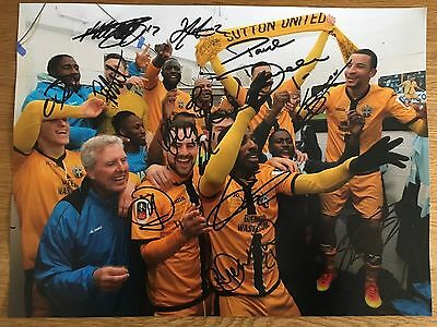 Sutton United FC Hand Signed 16x12 FA Cup Final Photo Vs Leeds - Eastmond PROOF