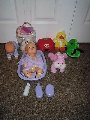 Elmo Tomato, Rabbit, Duck, Lady Bug, Bear, Baby Boy Dolls W/ Basin Tub Plush Lot