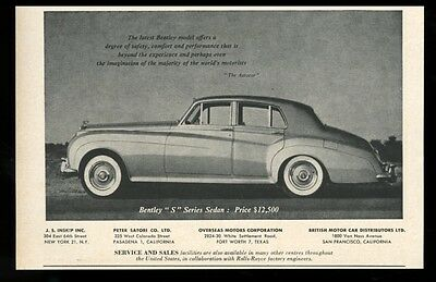 1957 Bentley S sedan car photo vintage print ad