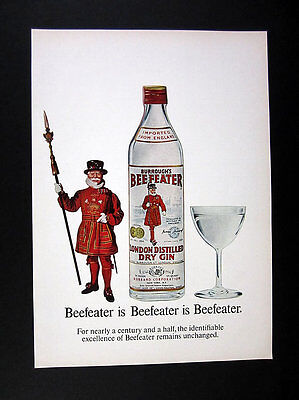 Beefeater Gin yeoman warder guard art 1967 print Ad advertisement