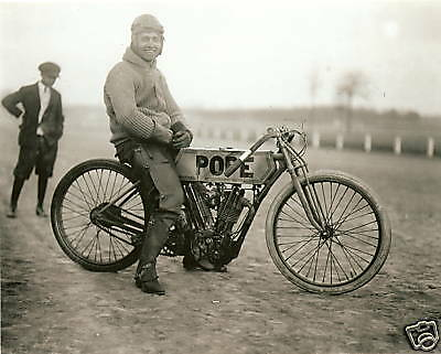 Old Photo Pope Motorcycle After a Race 1915 Laurel MD RP