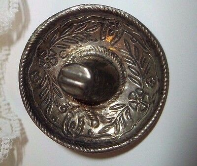 VINTAGE STERLING SILVER MEXICAN HAT PIN, 925 Estate Jewelry