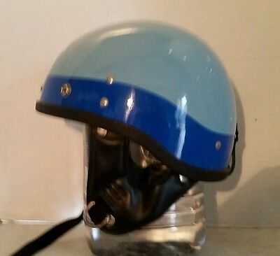 Vintage Harley Indian Buco Motorcycle 1/2 Half Helmet Two Tone Blue With Decal