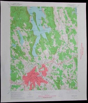 Danbury Connecticut Lake Candlewood Still River vintage 1965 old USGS Topo chart