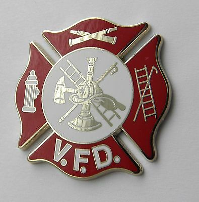 Volunteer Fire Fighter Fire Dept Medallion Shield Lapel Pin Badge 1.5 Inches