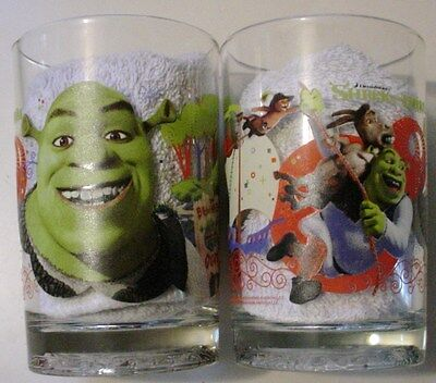 """Set Of Two """"shrek The Third"""" Mcdonald's Glasses, Same Picture"""