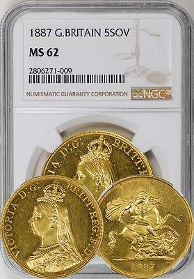 Great Britain 1887 5 Sovereign NGC MS-62 (Undergraded!)