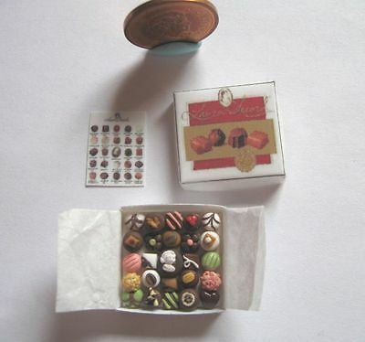 Dollhouse Miniature Luxury Box Of Assorted Chocolates 1:12 Scale