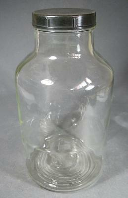 Vintage art deco depression glass jar black bakelite lid huge 31cm -kitchenalia