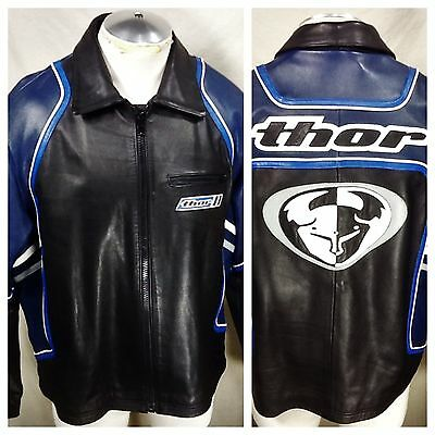 Thor Motocross Racing Leathers (XL) Zip Up Heavy Leather Jacket