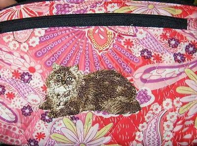 Q cosmetic BROWN LH CAT Quilted Pink Floral Dble Zip Fabric Cosmetic Bag