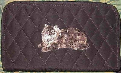 Q wallet BROWN LONG HAIR CAT Quilted Fabric Zip Around Brown Wallet