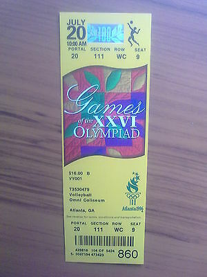Ticket Olympic Games ATLANTA 20.07.1996 VOLLEYBALL (10.00 AM)