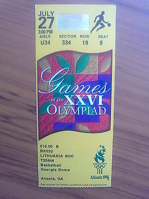 Ticket Olympic Games ATLANTA 27.07.1996 BASKETBALL