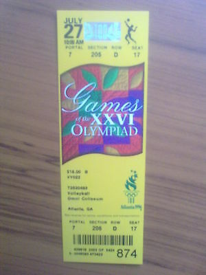 Ticket Olympic Games ATLANTA 27.07.1996 VOLLEYBALL (10:00 AM)