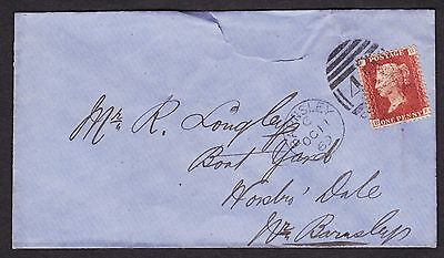 1858 1d RED PLATE 127 FINE USED ON COVER WITH BARNSLEY CANCELLATION