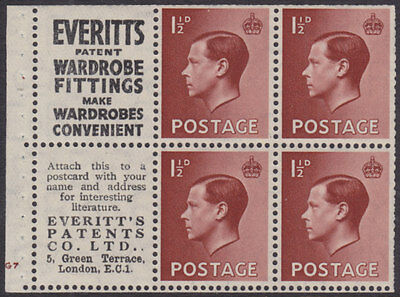 1936 KEVIII SG459a BOOKLET PANE WITH UPRIGHT WATERMARK MINT