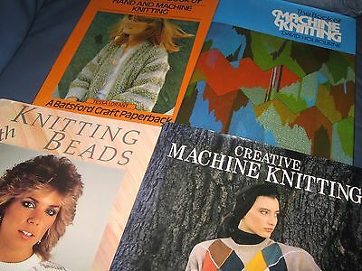 4 Machine Knitting Books For Techniques Patterns Bead & Creative Knitting Vgc*