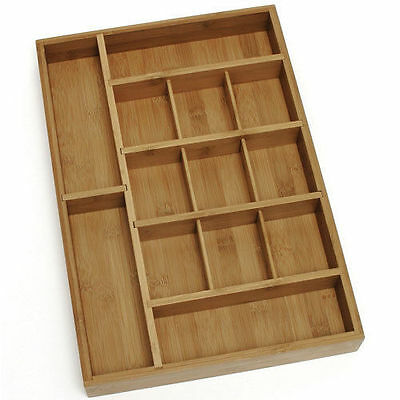 Adjustable Bamboo Wood Desk or Kitchen Drawer Organizer NEW!