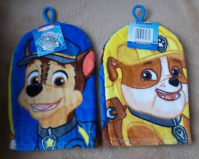 Kids Wash Mitt - PAW PATROL - Chase & Rubble - New - Flannel