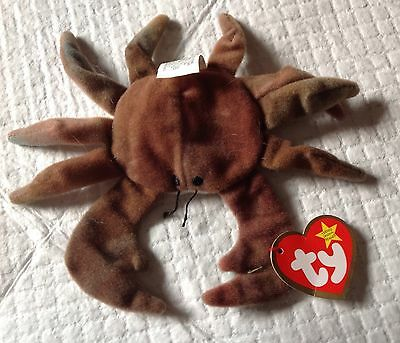 Rare 1993  Retired TY TEENIE BEANIE BABIES CLAUDE THE CRAB Plush with tag
