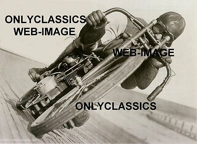 Vintage Motorcycle Board Track Racer Intense Racing Poster Harley Factory Rider
