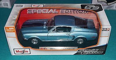 1968 Ford Mustang GT Cobra Jet Blue Maisto Special Edition 1/18 Diecast New.