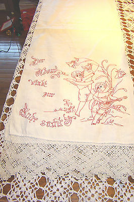 Victorian Turkey Red Embroidered  Linen TABLE Runner Redwork Monograms