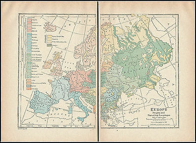 Vintage Colored Map Print 648 - Europe And Prevailing Languages 1910