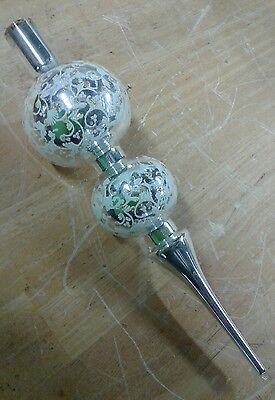 RARE Antique Vtg Germany Hand Blown Art Glass Christmas Tree Topper silver paint