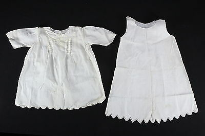 Vintage 1933 Embroidered Infant Baby Dress & Slip Hand Made Hand Sewn Cotton