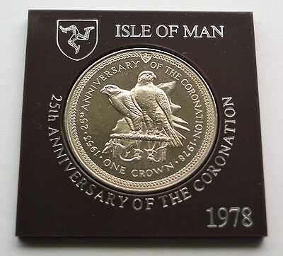 1978 25th ANNIVERSARY OF CORONATION CROWN - FALCONS - ISLE OF MAN COIN IN MOUNT