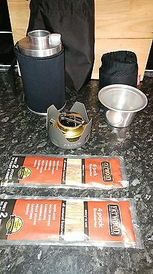 ghillie kettle, meths burner, fire sticks and carry pouches