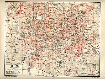 1893= ROMA = Antica MAPPA= OLD MAP