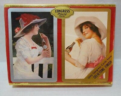 Vintage Congress Playing Cards ~ Double Deck ~ Coca Cola Ladies ~ Mint Sealed