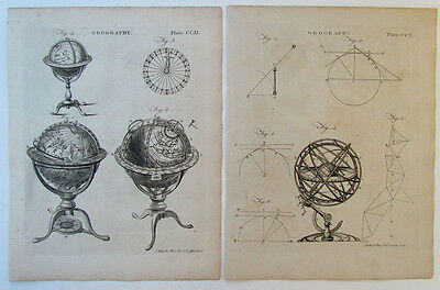 GROUP OF 2 SMALL ANTIQUE 18th century ENGRAVINGS w/ GLOBES GEOGRAPHY