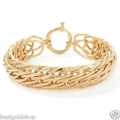 Technibond Infinity Wheat Link Bracelet 14K Yellow Gold Clad Sterling Silver 925