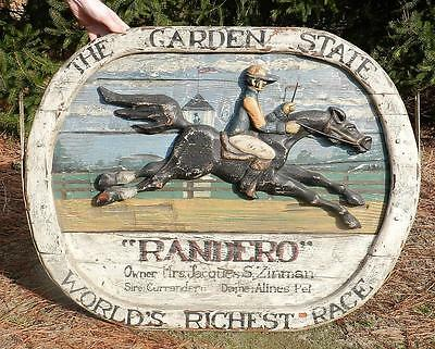 Vintage c1964 Folk Art Primitive Hand Carved Wood Sign~Racehorse RANDERO~NJ Race