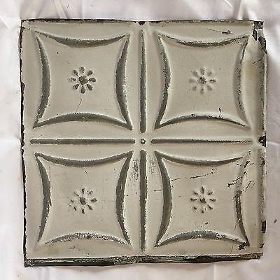 "Reclaimed 1890's 12"" x 12"" Antique Tin Ceiling Tile Metal White Vintage 49-17"