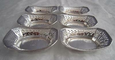 "6 Webster Sterling Nut Dishes Pierced Octagonal Gadroon Edge Eng ""F"" Not Scrap"