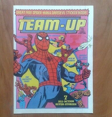 1st & 2nd ISSUES OF 'MARVEL TEAM-UP' UK WEEKLY COMIC 1980 SPIDER-MAN, MS MARVEL